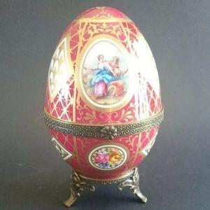 Limoges Print A La Main Trinket Egg